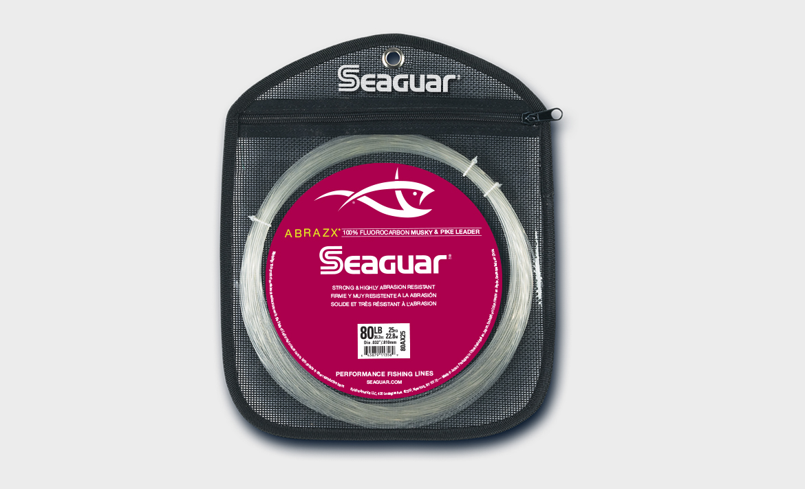 Seaguar Abrazx Fluorocarbon Clear Leader Fishing Line 25 Yards Select Lb Test